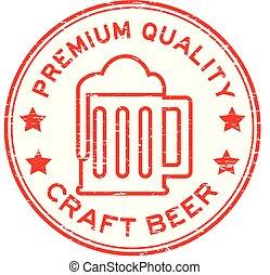 Grunge red premium quality craft beer round rubber stamp on white background