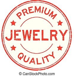 Grunge red premium quality jewelry round rubber stamp