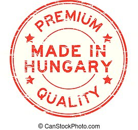 Grunge red premium quality made in Hungary round rubber stamp