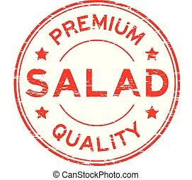 Grunge red premium quality salad round rubber stamp