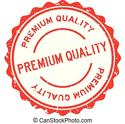 Grunge red premium quality word round rubber seal stamp on white background