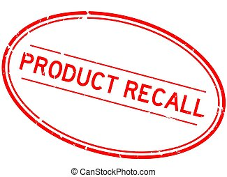 Grunge red product recall word oval rubber seal stamp on white background