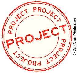 Grunge red project word round rubber seal stamp on white background