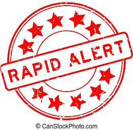 Grunge red rapid alert word with star icon round rubber seal stamp on white background