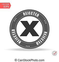 Grunge red rejected round rubber seal stamp on white background