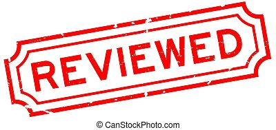 Grunge red reviewed word rubber seal stamp on white background