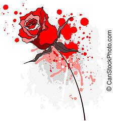 Grunge red rose on a white background