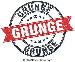 grunge red round grunge vintage ribbon stamp