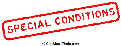 Grunge red special conditions word square rubber seal stamp on white background