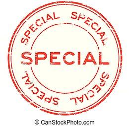 Grunge red special round rubber stamp