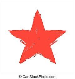 Grunge red star. Grunge texture. Vector illustration