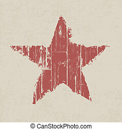 Grunge red star. Vector, EPS10.