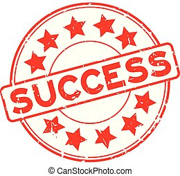 Grunge red success word with star icon rubber seal stamp on white background