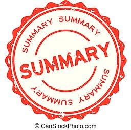 Grunge red summary word round rubber seal stamp on white background