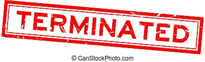 Grunge red terminated word square rubber seal stamp on white background