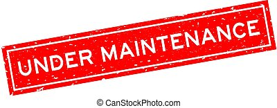 Grunge red under maintenance word square rubber seal stamp on white background