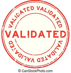Grunge red validate round rubber stamp on white background