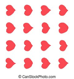 Grunge red vector heart icon love collection