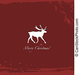 Grunge red vintage reindeer background