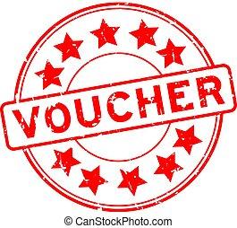 Grunge red voucher word round rubber seal stamp on white background