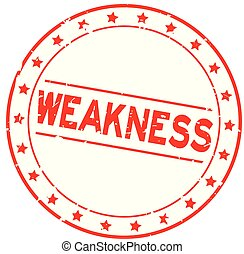 Grunge red weakness word with star icon round rubber seal stamp on white background