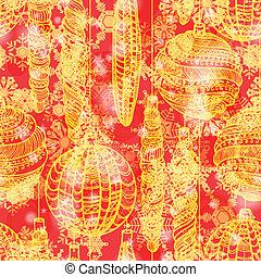 Grunge red winter seamless pattern