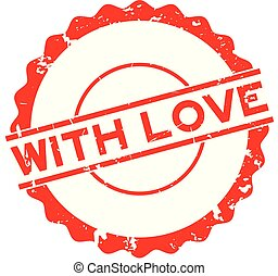 Grunge red with love word round rubber seal stamp on white background