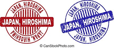 grunge, redondo, sellos, textured, hiroshima, japón
