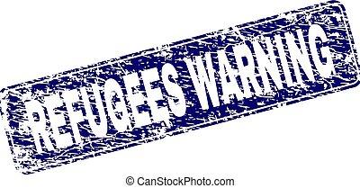 Grunge REFUGEES WARNING Framed Rounded Rectangle Stamp