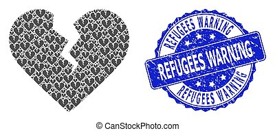 Grunge Refugees Warning Round Seal Stamp and Recursion Divorce Heart Icon Composition
