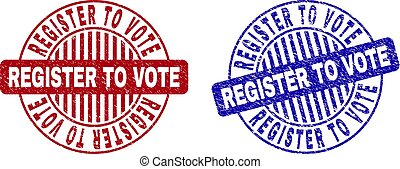 Grunge REGISTER TO VOTE round stamp seals isolated on a white background. Round seals with grunge texture in red and blue colors.