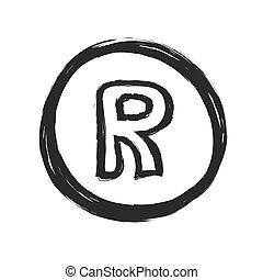 grunge registered trademark symbol, vector illustration
