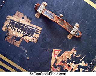 grunge, &, reizen, etiketten, -, textuur, bagage, stickers, markeringen