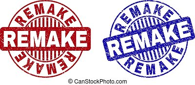 Grunge REMAKE round stamp seals isolated on a white background. Round seals with grunge texture in red and blue colors. Vector rubber imprint of REMAKE title inside circle form with stripes.