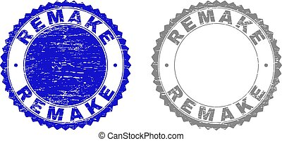 Grunge REMAKE stamp seals isolated on a white background. Rosette seals with grunge texture in blue and gray colors. Vector rubber stamp imprint of REMAKE text inside round rosette.