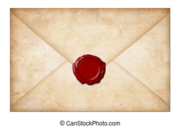 grunge, remeta envelope, ou, letra, com, selo cera, isolado,...