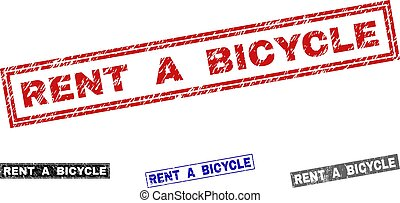 Grunge RENT A BICYCLE Textured Rectangle Stamp Seals