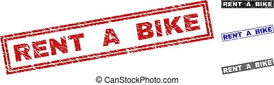 Grunge RENT A BIKE Scratched Rectangle Stamp Seals