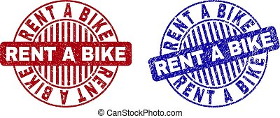 Grunge RENT A BIKE Scratched Round Stamps