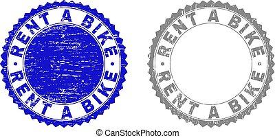 Grunge RENT A BIKE Scratched Stamp Seals