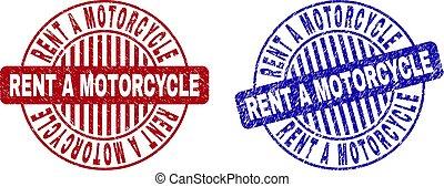 Grunge RENT A MOTORCYCLE Textured Round Stamp Seals