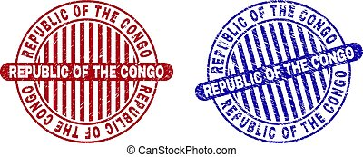 Grunge REPUBLIC OF THE CONGO Textured Round Stamps