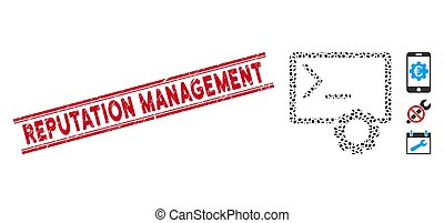 Grunge Reputation Management Line Seal with Collage Console Administration Icon