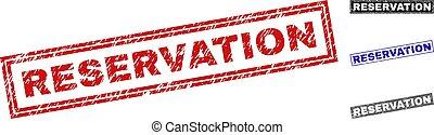 Grunge RESERVATION Textured Rectangle Stamp Seals