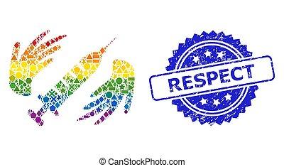grunge, respect, mains, géométrique, vaccin, cachet, multicolore, soin, mosaïque