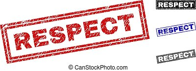 Grunge RESPECT Textured Rectangle Watermarks