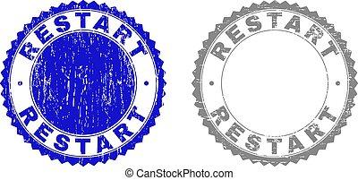 Grunge RESTART Scratched Stamp Seals