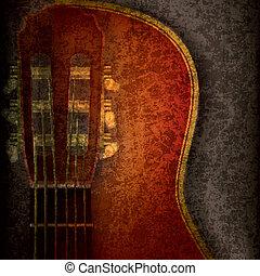 grunge, resumen, guitarra, música, plano de fondo, acústico