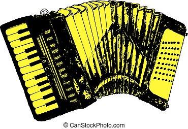 Grunge Retro Accordion - Illustration of an accordion...