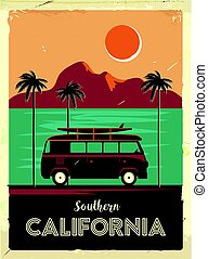 Grunge retro metal sign with palm trees and van. Surfing in California. Vintage advertising poster. Old fashioned design